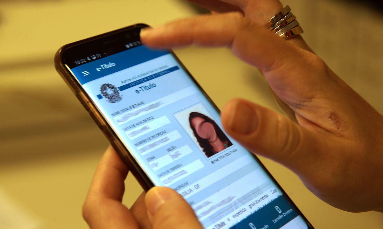 Foto mostra a tela do aplicativo e-título  eleições 2020