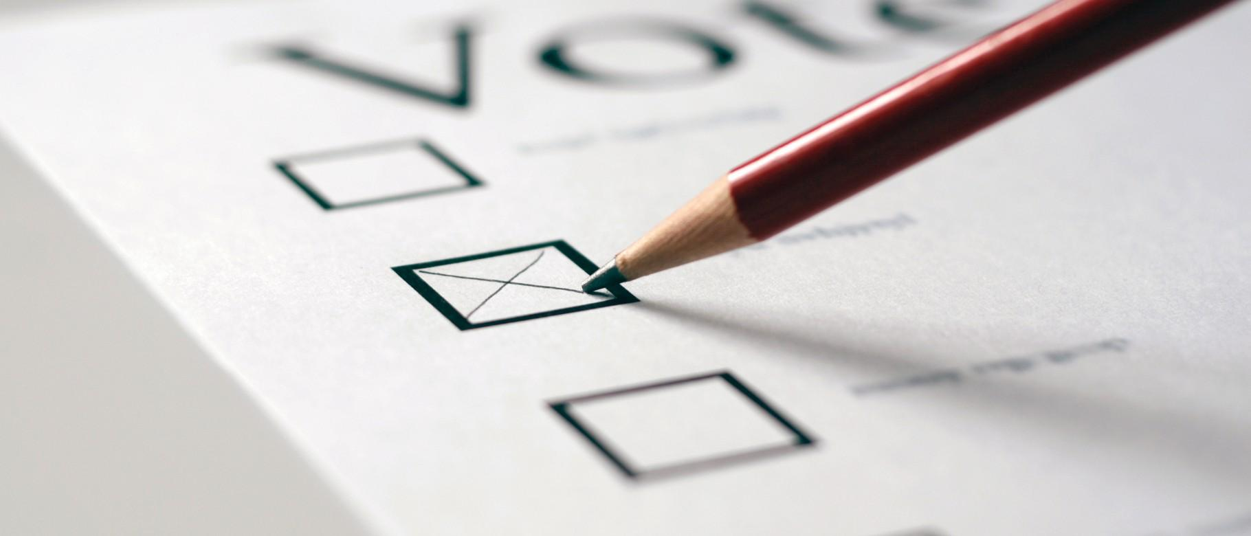 Foto mostra cédula de votação