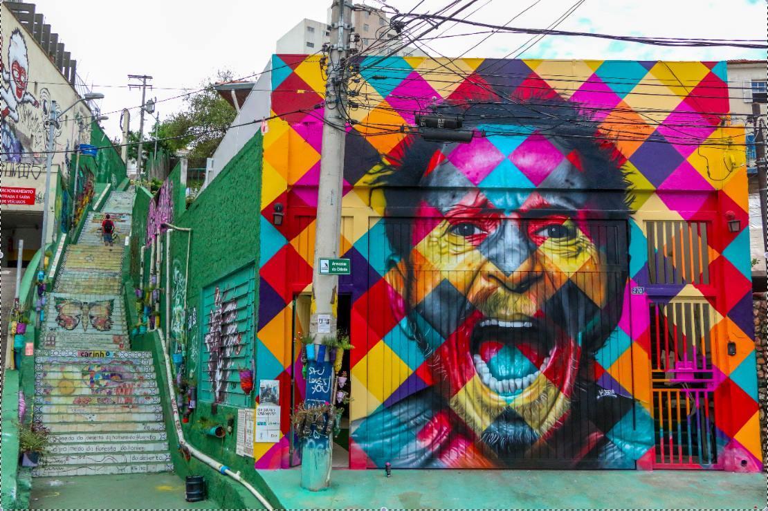 Grafite representando o cantor Tom Zé na Vila Madalena, um dos melhores bairros de SP