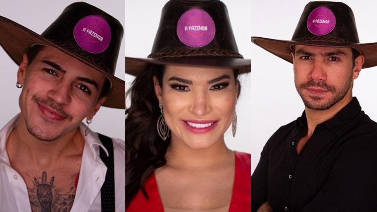 Biel, Raissa Barbosa e Mariano, participantes de A Fazenda 2020