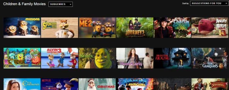 Tela de seleção de filmes do Netflix
