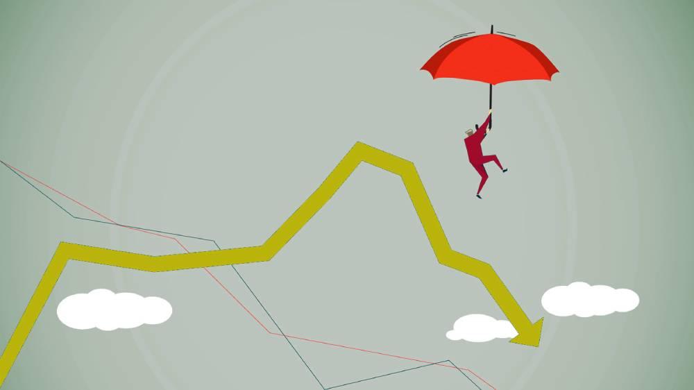 investidor caindo de paraquedas procurando ações baratas em céu com gráfico de cotação