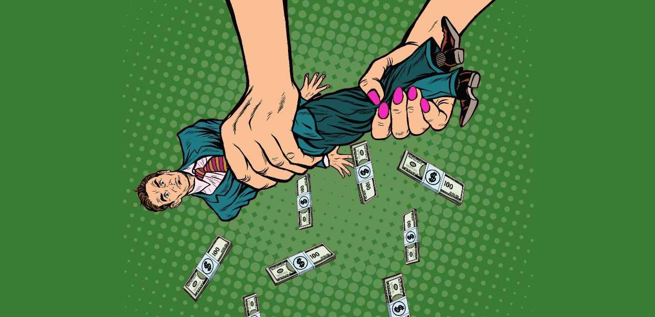 boneco de terno sendo espremido e saindo dinheiro