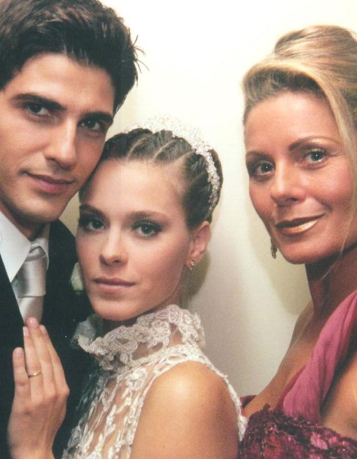 Edu, Camila e Helena na novela Laços de Família