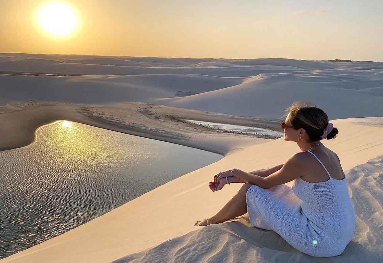 por do sol nas dunas dos lencoies maranhenses
