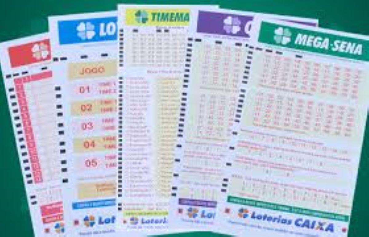 Loterias acumuladas - volantes de cinco modalidades de jogos