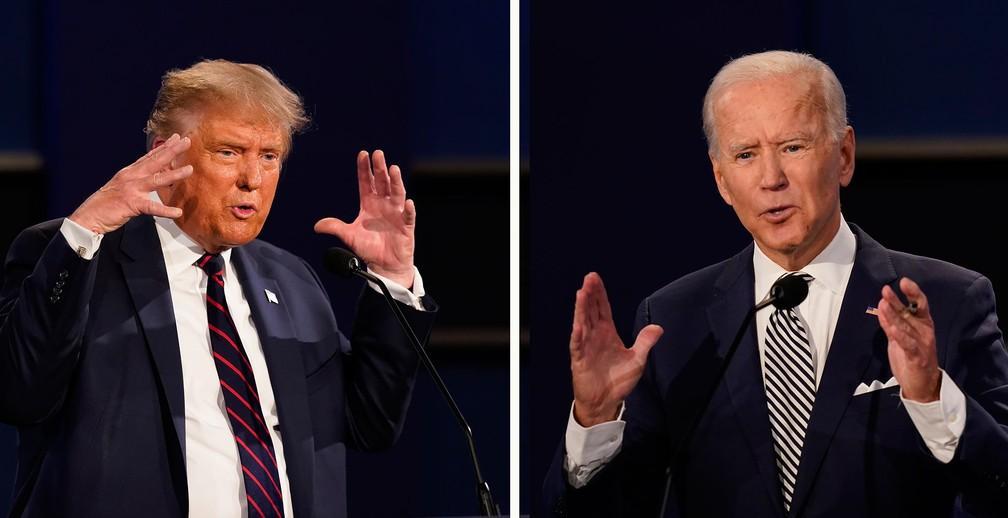 Donald Trump está atrás de Joe Biden na pesquisa do NYT. Foto: reprodução