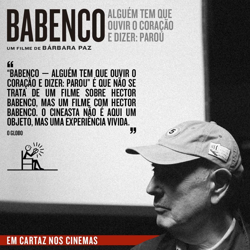Imagem mostra cartaz de divulgação de Babenco