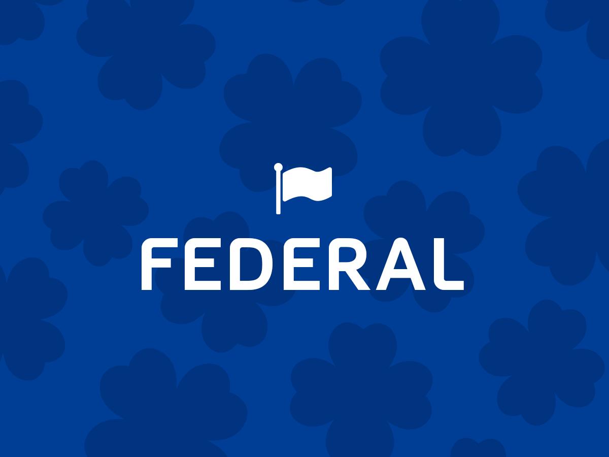 Loteria Federal concurso 5514 - A imagem tem o fundo azul e um escrito Federal