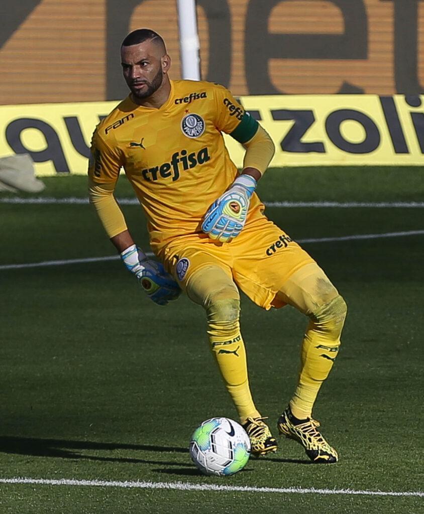 Imagem mostra goleiro Weverton, do Palmeiras