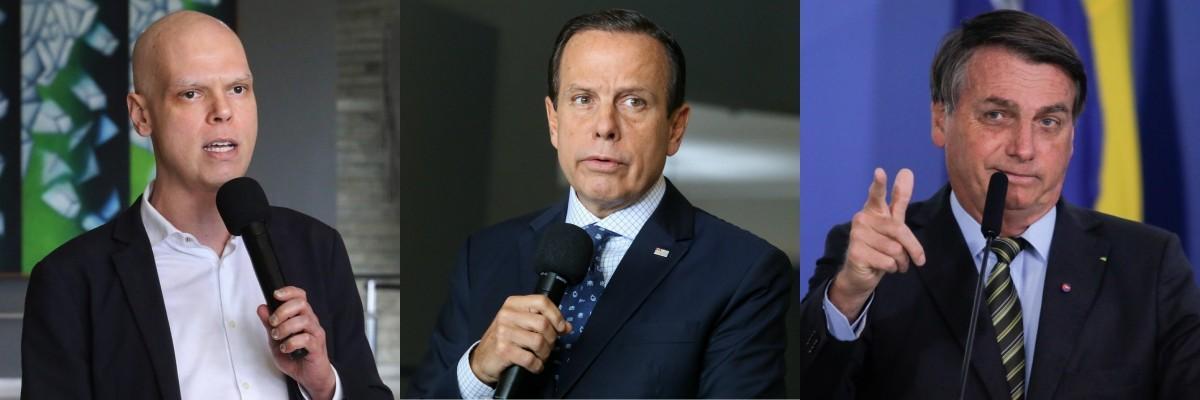 prefeito Bruno Covas, governador João Doria e presidente Jair Bolsonaro