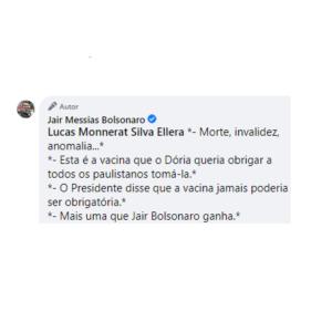 imagem de uma mensagem de Jair Bolsonaro sobre a coronavac