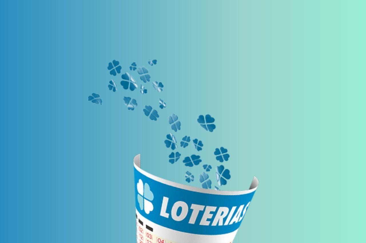 bilhete digital da loteria na cor azul sob um fundo gradiente azul e verde agua, resultado da loteria federal 5517