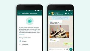 Imagem mostra recurso de mensagens temporárias disponível no aplicativo Whatsapp