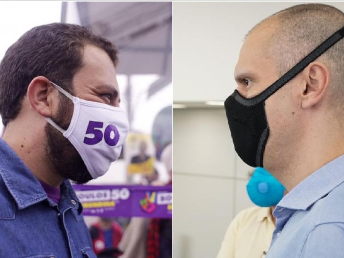 imagem mostra Boulos e Covas em debate nas eleições 2020