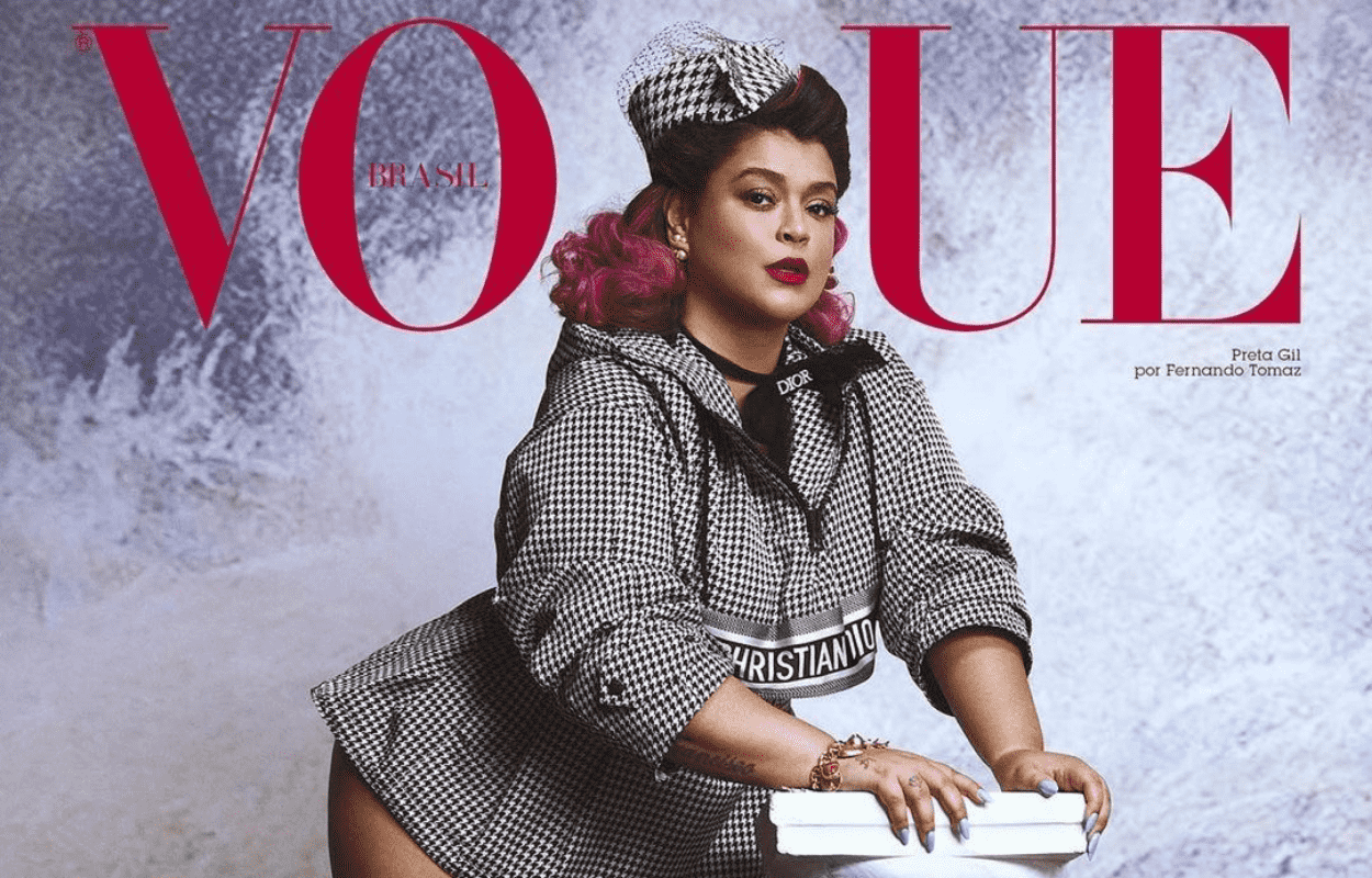 Imagem mostra capa da revista Vogue com Preta Gil