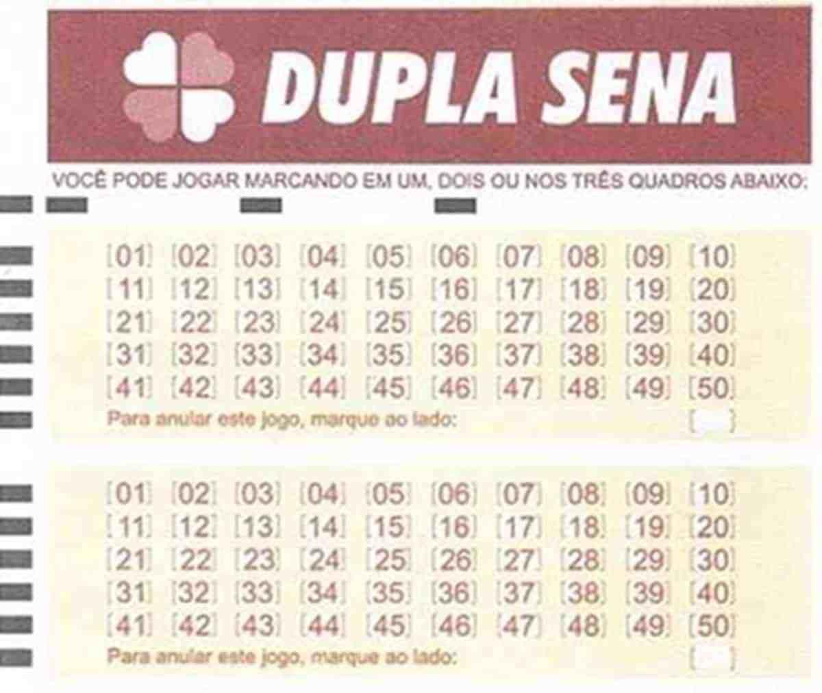 Dupla Sena concurso 2157 - a imagem é de um volante da Dupla Sena