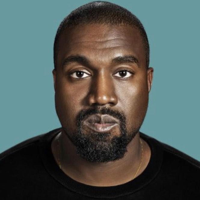 Imagem mostra rosto do cantor Kanye West