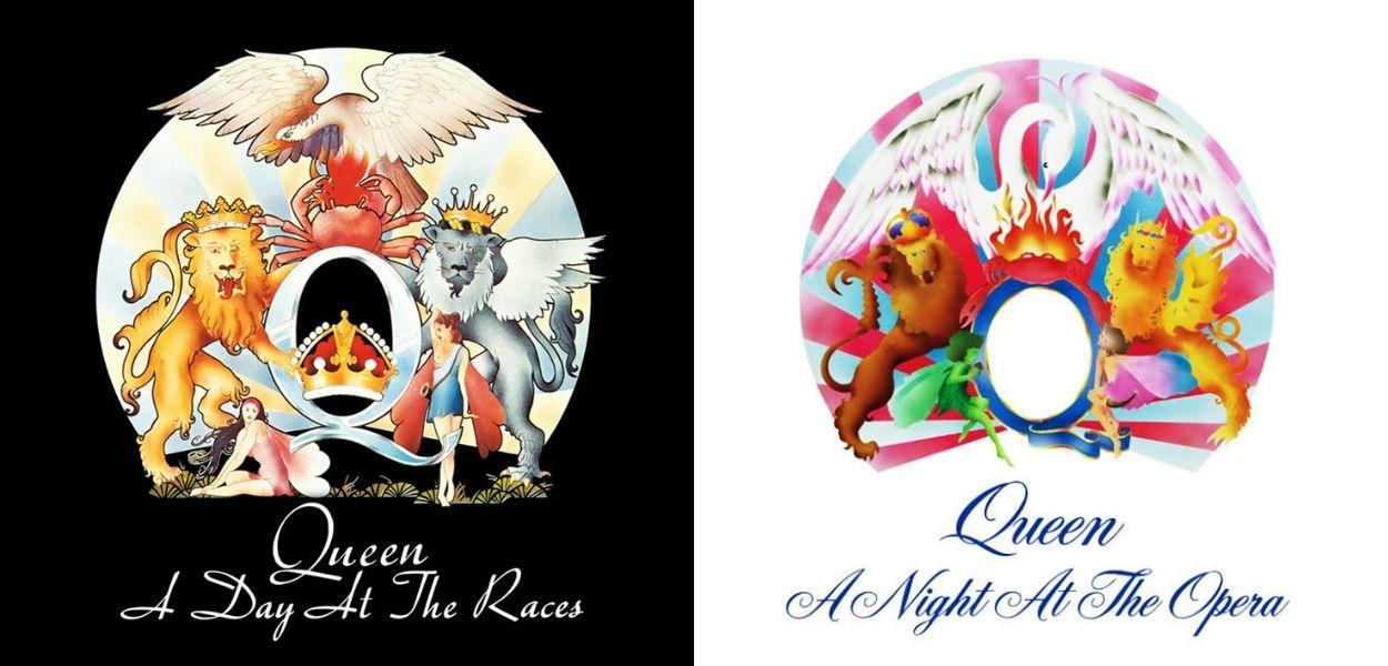 capas dos discos A Day At The Races e A Night At The Opera, ambos lançados pelo Queen