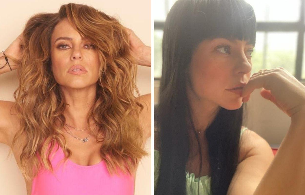 Imagem compara cabelos da Paolla Oliveira, um castanho e o outro preto