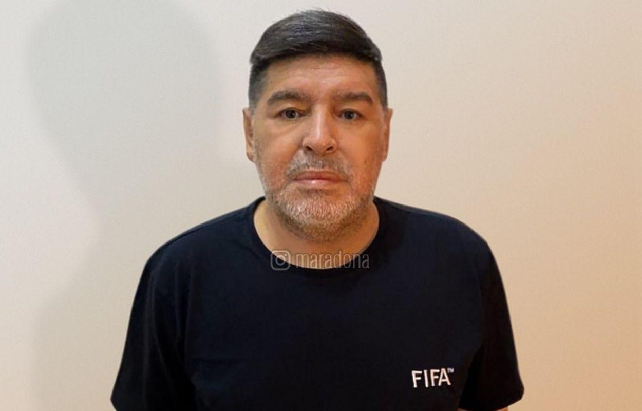 Imagem mostra rosto de Diego Maradona