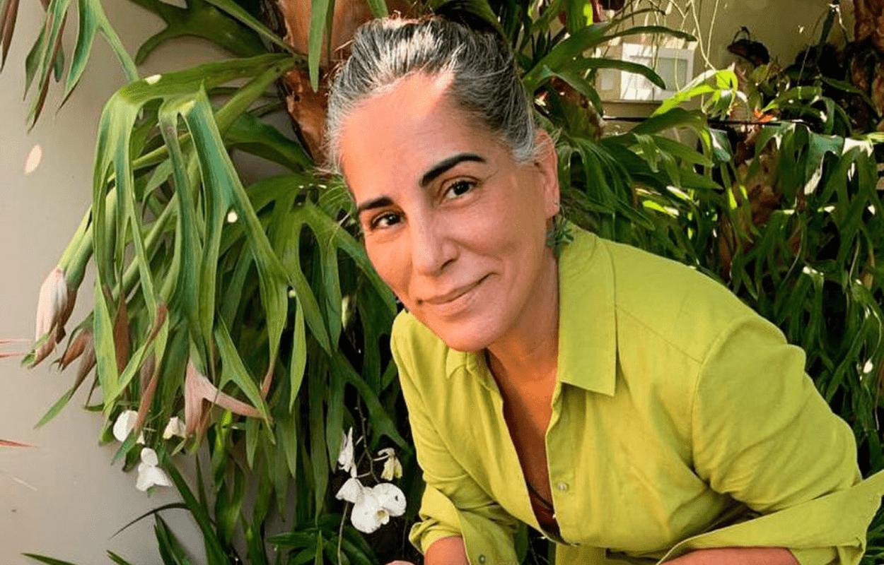 Imagem mostra Gloria Pires com cabelos brancos