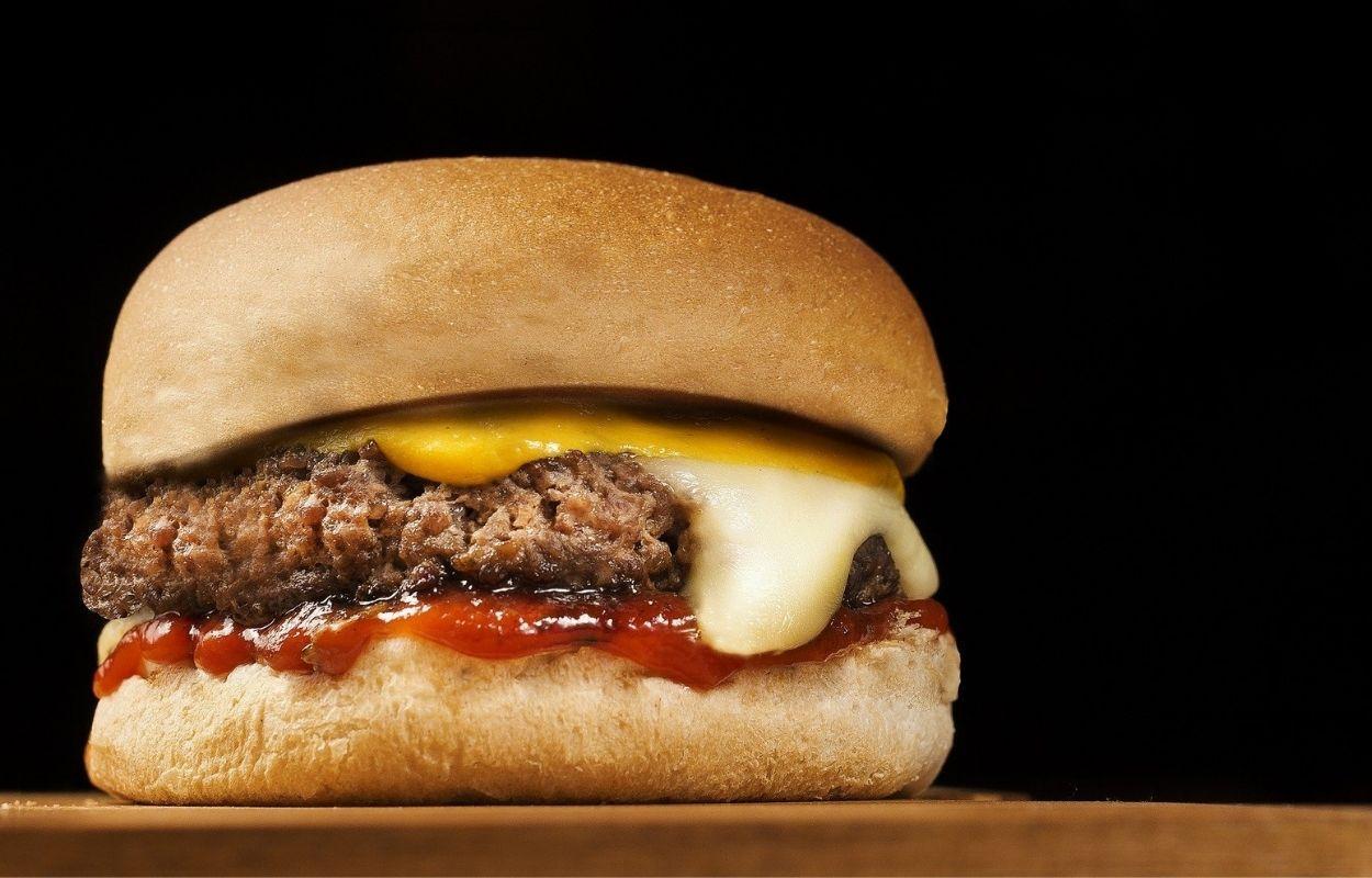 Imagem mostra foto de hambúrguer com queijo