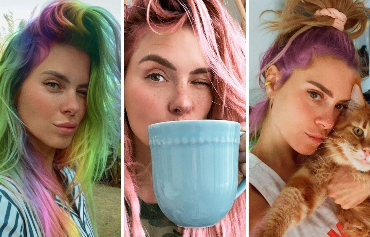 Imagem mostra Carolina Dieckmann com cabelos coloridos por filtros de aplicativos