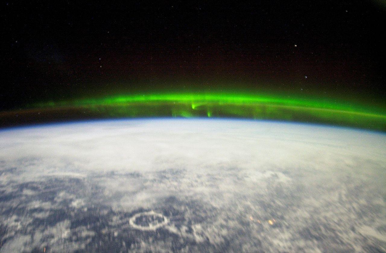 Uma Aurora Boreal vista do espaço. Foto: NASA