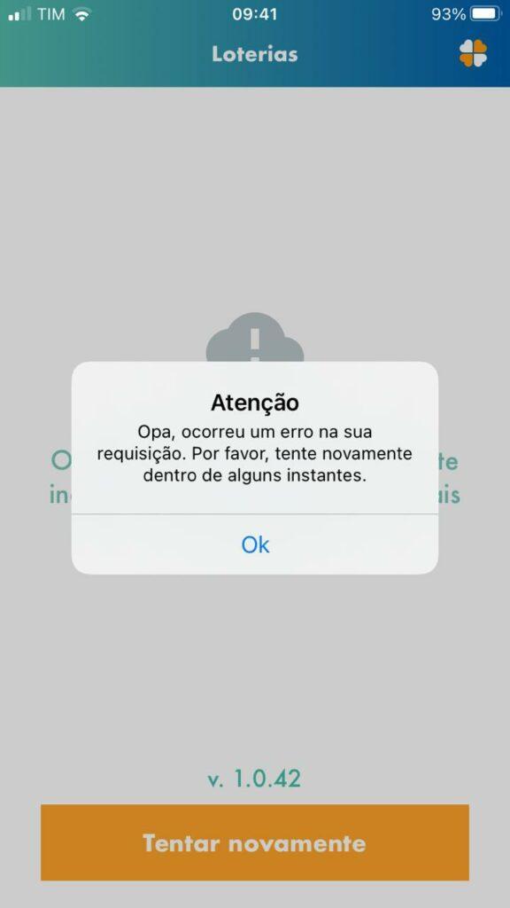 A imagem mostra uma mensagem de erro no aplicativo da CAIXA