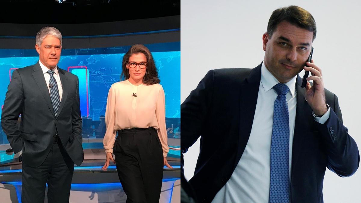 Na imagem os jornalistas William Bonner e Renata Vasconcelos, e o senador Flávio Bolsonaro