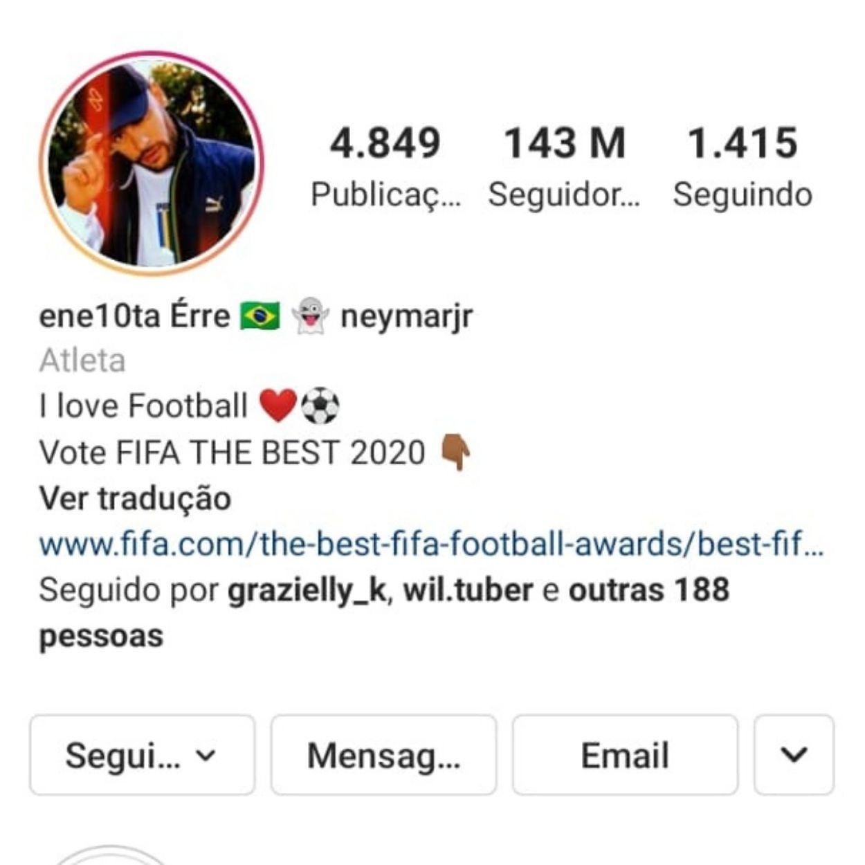 Brasileiros mais seguidos no Instagram Neymar