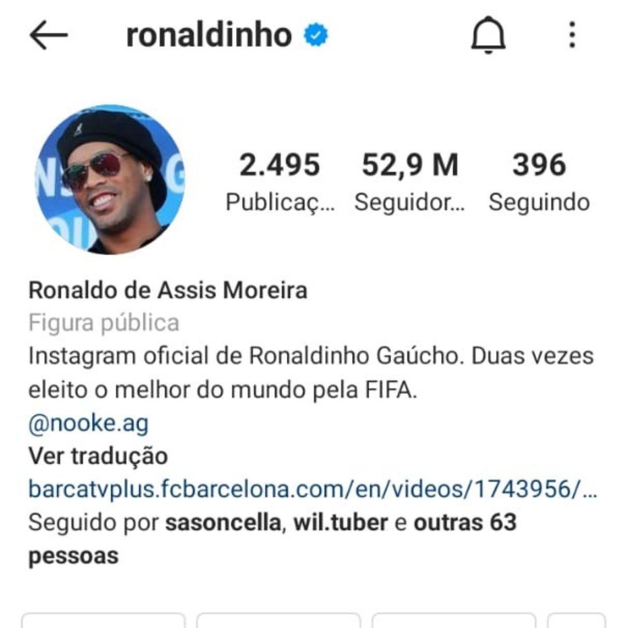 Brasileiros mais seguidos no Instagram Ronaldinho