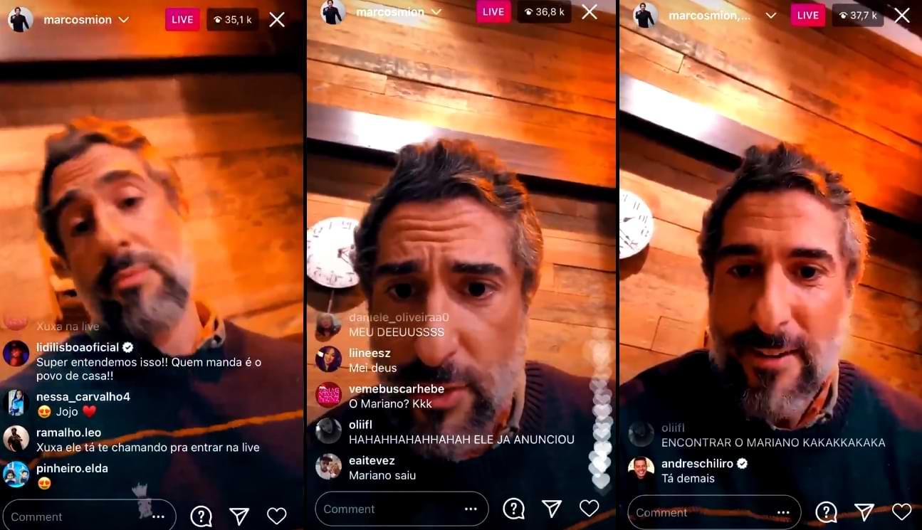 Mion, apresentador de A Fazenda, fez live no instagram