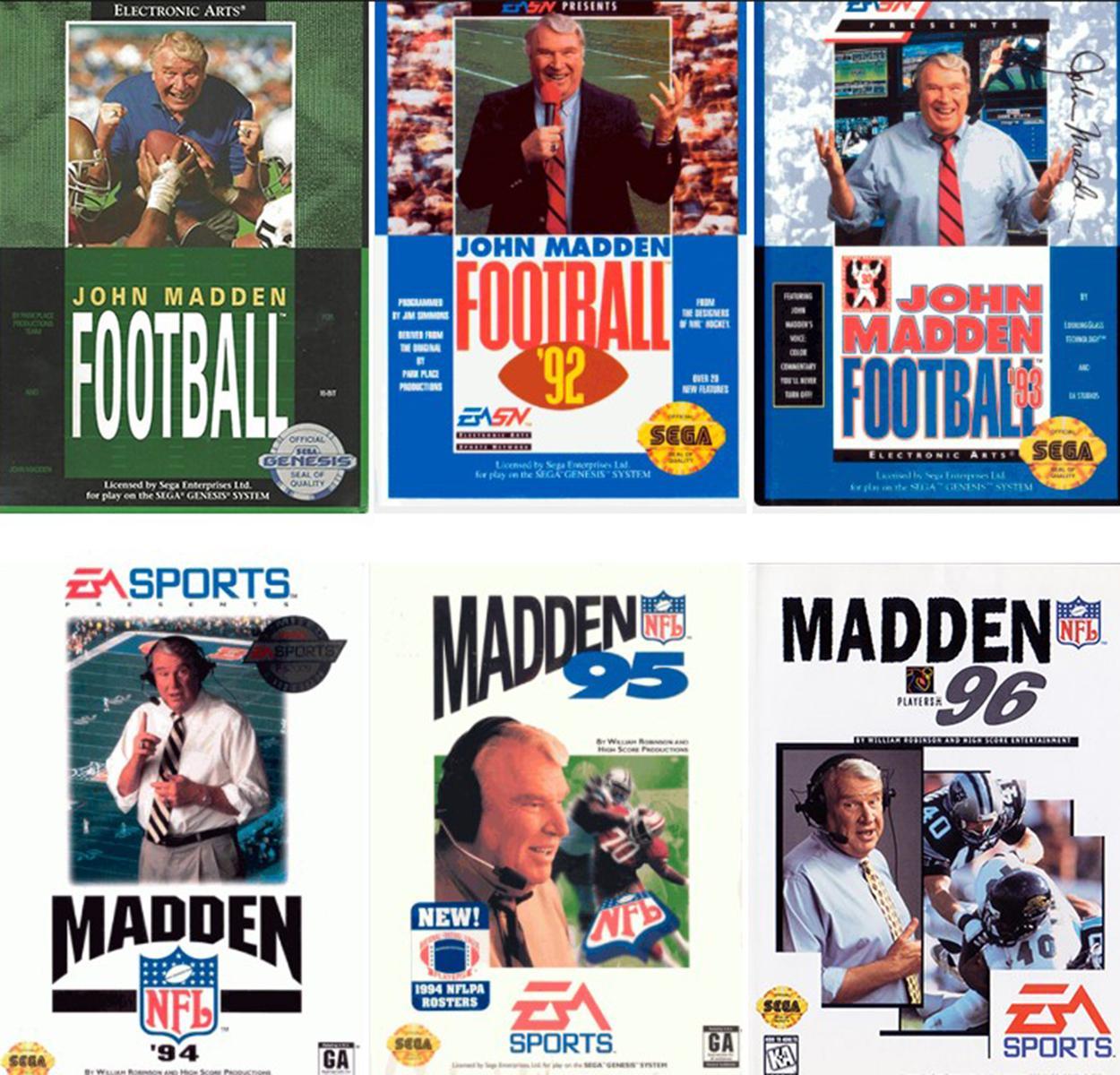 Capas do Madden nos anos 1990