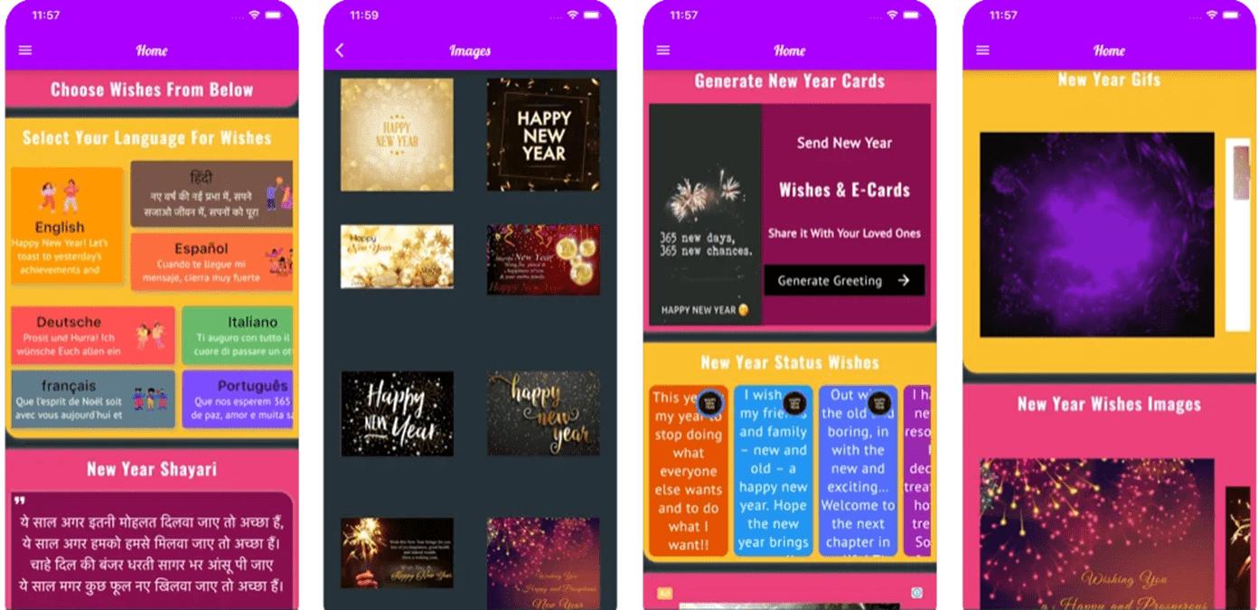 Imagem capturada de celular - aplicativo de mensagens de ano novo