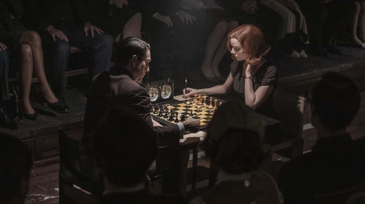 Partida de xadrez em O Gambito da Rainha