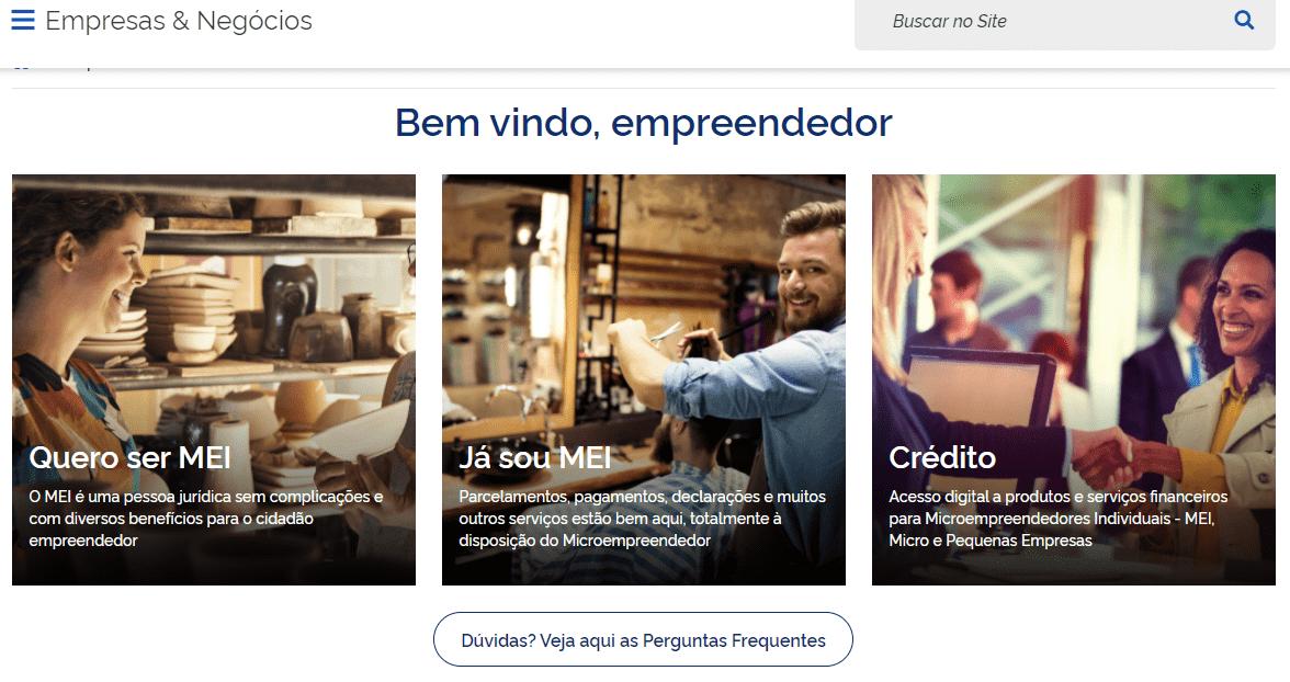 Página inicial do Portal do Empreendedor