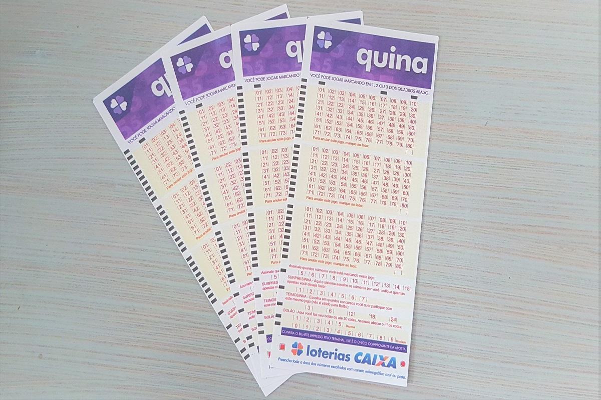Resultado da Quina - A imagem mostra quatro volantes da Quina