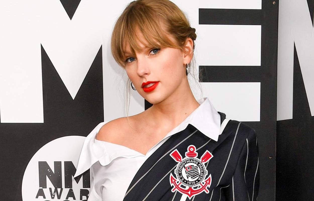Montagem de Taylor Swift com a camisa do Corinthians