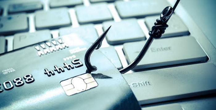 golpe de phishing, ou pescaria, tentando pegar cartão de crédito