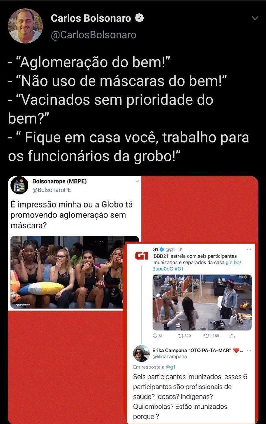 Imagem mostra tuíte de Carlos Bolsonaro sobre os brothers imunizados do BBB