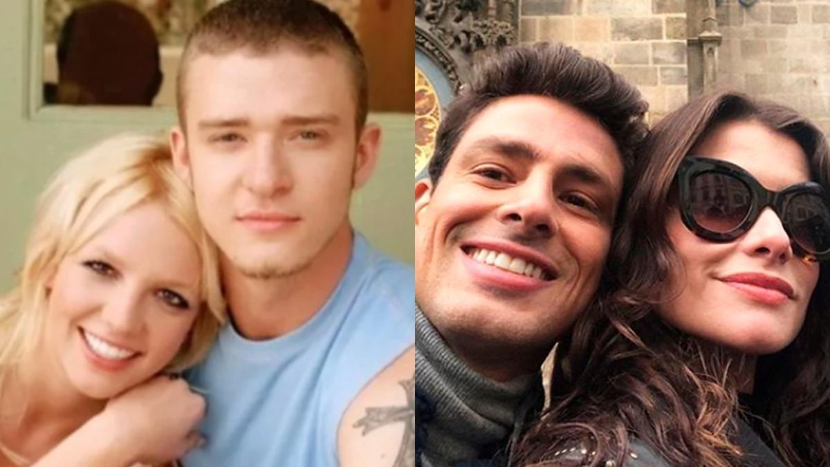 Na imagem Britney Spears e Justin Timberlake, Cauã Reymond e Alinne Moraes - casais famosos que já se relacionaram no passado