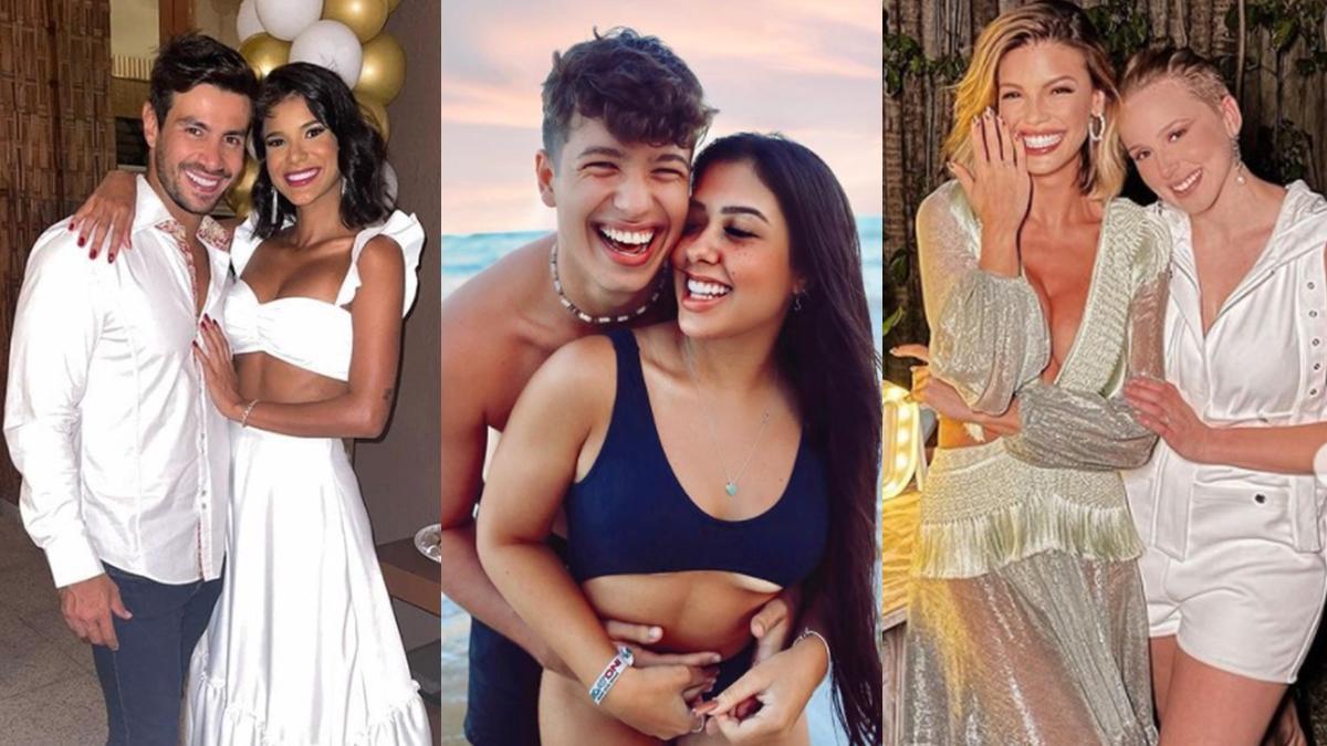 Na imagem Mariano e Jakelyne, Cinthia Cruz e Pietro Guedes, e Vitória Strada e Marcella Rica Lista de casais de 2021