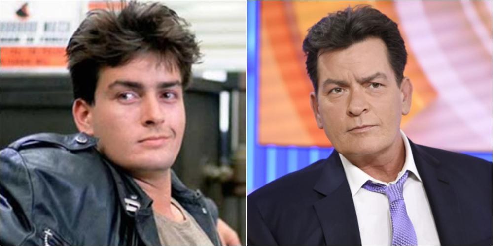 Imagem mostra o ator Charlie Sheen em antes e depois