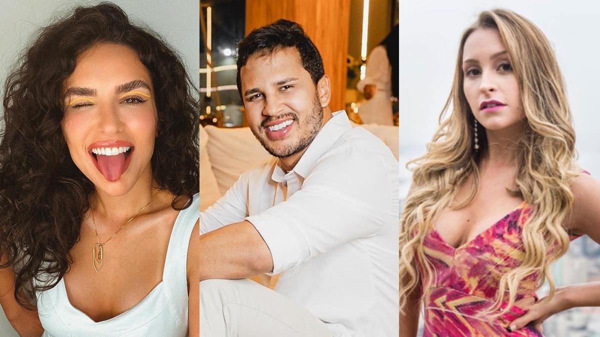 Imagem mostra Kéfera, Lucas Guimarães e Carla Diaz, possíveis participantes em enquete BBB 21