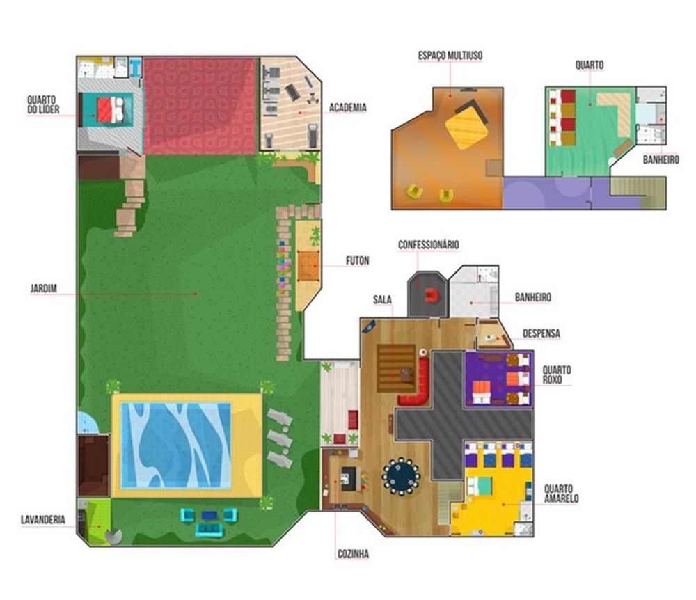 Imagem mostra a planta da casa do BBB 16 -