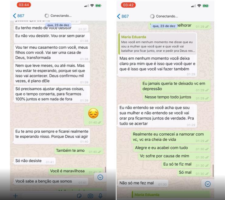 Imagem mostra os pritns das conversas de Duda com Nego do Borel