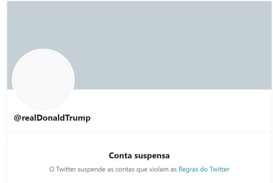 Trump tem conta suspensa