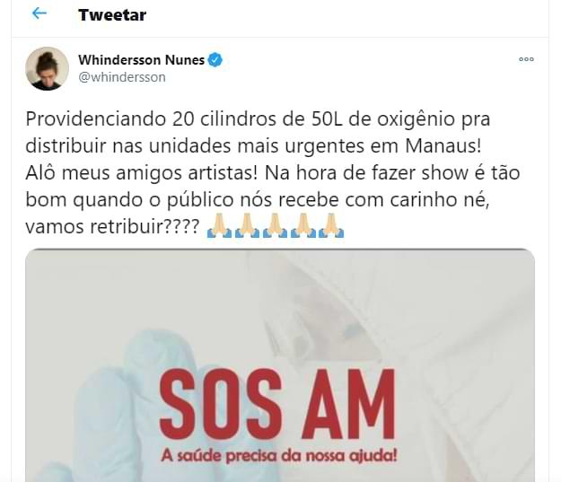 Whindersson mobilizou famosos por oxigênio à Manaus